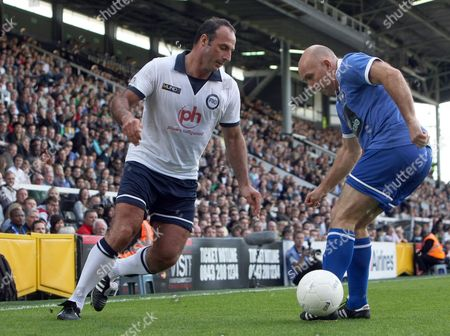 Football - Football 40 - London Legends Cup Ramon Vega of Tottenham takes on Cliver Walker of Chelsea at Craven Cottage