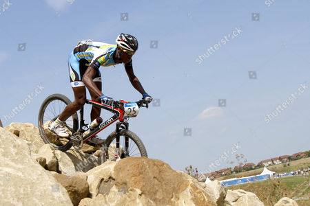 Stock Picture of Mountain Biking - Hadleigh Farm Mountain Bike International Rwanda's Adrien Niyonshuti at Hadleigh Farm