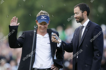 Golf - BMW PGA Championship Luke Donald of England is interviewd by Andrew Cotter of the BBC at Wentworth Club Surrey