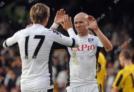 Football - Europa League Qualifying Round One First Leg - Fulham vs NSI Runavik Andrew Johnson celebrates his 2nd goal with Bjorn Helge Riise(Fulham) 30/06/2011