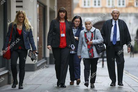 Jo Cox's sister Kim Leadbeater (L) and parents Jean and Gordon Leadbeater