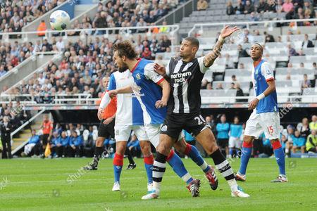 Football - Premier League - Newcastle United vs Blackburn Rovers Gael Givet (Blackburn Rovers) gets ahead of Leon Best (Newcastle United)at St James' Park