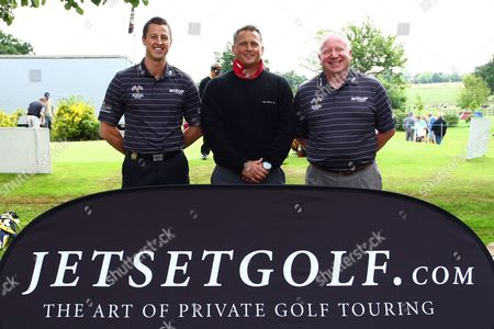 Golf - British Par Three Chamionship - Nailcote Hall Darren Gough poses for photographs with JetSet Golf representatives