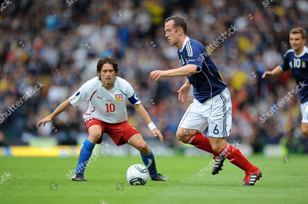 Football - Euro 2012 Qualifier - Scotland vs Czech Republic Charlie Adam (Scotland) and Tomas Rosicky (Czech Republic) at Hampden Park