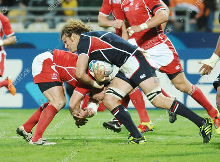 Rugby Union - Rugby World Cup 2011 - Russia v USA 15/09/2011 Todd Clever (USA on the charge