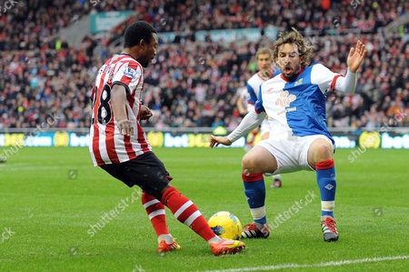 Football - Premier League - Sunderland vs Blackburn Rovers Gael Givet (Blackburn Rovers) tries to stop the cross from Stephane Sessegnon (Sunderland) at the Stadium of Light