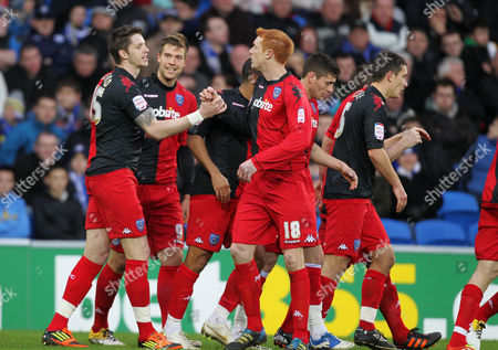 Football Npower Championship Cardiff City vs Portsmouth at Cardiff City Stadium Portsmouth's Greg Halford celebrates scoring Portsmouth's second goal with Dave Kitson 21/01/2012