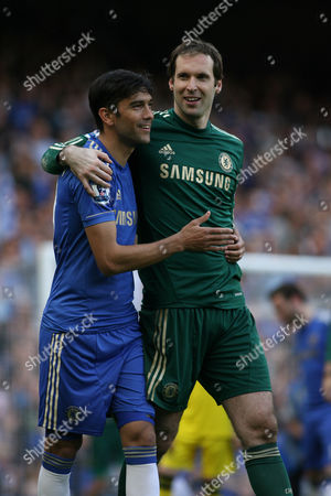 Football - 2012 / 2013 Premier League - Chelsea vs Everton Paulo Ferreira and Petr Cech of Chelsea celebrate as the players parade round Stamford Bridge to thank the fans at the end of the season at Stamford Bridge