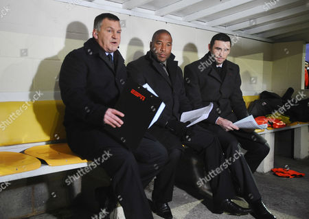 Football - FA Cup Second Round - Sutton United vs Notts County ESPN Commentary team : L to R Ray Stubbs John Barnes and Martin Keown