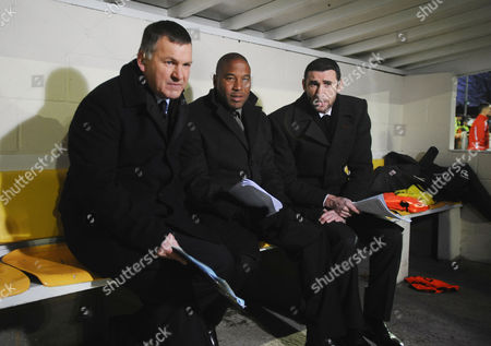 Stock Image of Football - FA Cup Second Round - Sutton United vs Notts County ESPN Commentary team : L to R Ray Stubbs John Barnes and Martin Keown