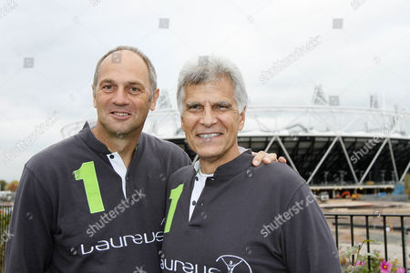Sport - Laureus World Sports Academy Members at the London 2012 Olympic Park Pictured: Sir Steve Redgrave and Mark Spitz