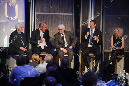 Stock Picture of Rugby Union - Lord's Taverners Tribute Dinner to The Winning British Lions - Grange Tower Bridge Hotel Guest speakers : L to R John Dawes (Wales) Roger Uttley (England) Finlay Calder (Scotland) Martin Johnson (England) and Jill Douglas (BBC TV Presenter)