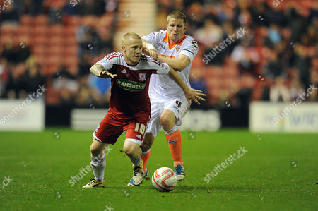 Football - Npower Championship - Middlesbrough vs Blackpool Nicky Bailey (Middlesbrough) and Keith Southern (Blackpool) battle for the ball at The Riverside UK