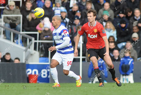 Football - Premier League - Queens Park Rangers vs Manchester United D J Campbell - QPR Jonny Evans - United