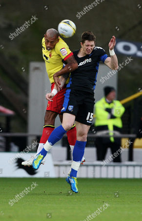 Football nPower Championship Watford v Portsmouth at Vicarage Road Watford's Chris Iwelumo battles with Portsmouth's Greg Halford 19/11/2011