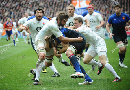 Rugby Union - Six Nations Championship - France vs England Imanol Harinordoquy - France on the charge is halted by Chris Ashton and Geoff Parling - Eng