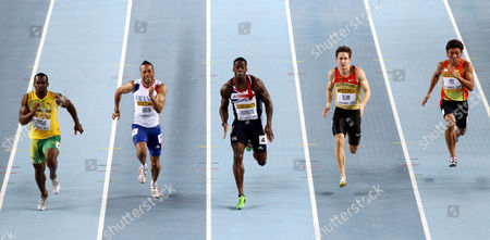 Athletics - World Indoor Championships 2012 - Istanbul Jamaica's Nesta Carter (L) Emmanuel Biron of France (2nd L) Dwain Chambers (C) of Great Britain and Christian Blum (2nd R) of Germany and Singapore's Gary Yeo Foo Ee (R) compete in the Men's 60 Metres semi final during day two of the 14th IAAF World Indoor Championships at the Atakoy Athletics Arena Turkey Istanbul