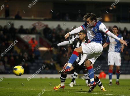 Football - Premier League- Blackburn Rovers vs Newcastle - Blackburn's Gael Givet misses from close range at Ewood Park