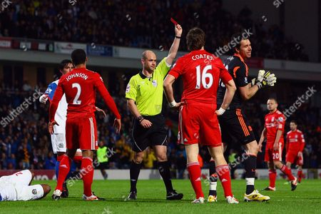 Football - Premier League - Blackburn Rovers vs Liverpool Alexander Doni of Liverpool is shown a straight red card at Ewood Park