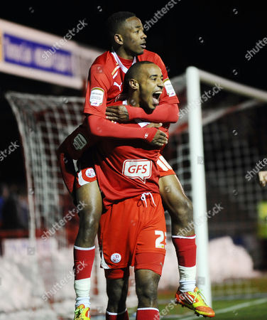 Football - League Two - Crawley Town vs Cheltenham Town Tyrone Barnett celebrates his 2nd goal (Crawley's 3rd) with Sanchez Watt