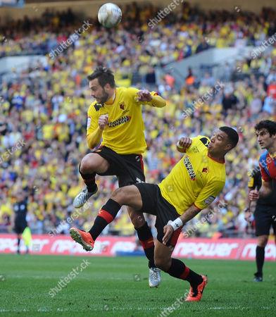 Football - 2013 Championship Play-Off Final - Crystal Palace vs Watford Marco Cassetti and Nathaniel Chalobah - Watford at Wembley Great Britain