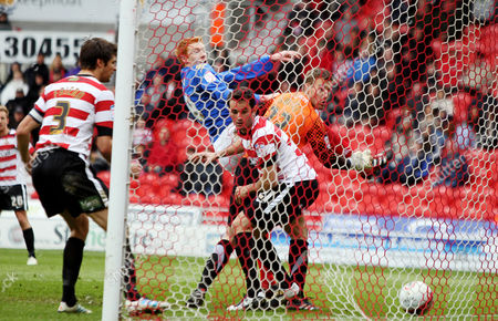 Football Npower Championship Doncaster vs Portsmouth at Keepmoat Stadium Portsmouth's Dave Kitson scores Portsmouth's third goal 14/04/2012