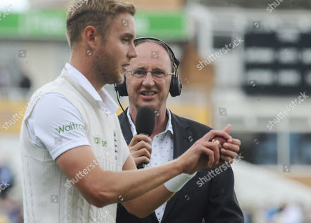 Cricket - 2015 Australia Tour of England - Third Ashes Test at Edgbaston BBC Test Match Special radio broadcaster Jonathan Agnew with Stuart Broad during the morning session of the first day's play