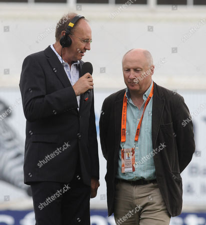 Cricket - 2015 Australia Tour of England - Third Ashes Test at Edgbaston BBC Test Match Special radio broadcaster Jonathan Agnew with former Somerset and England all-rounder Vic Marks (centre) now part of TMS team during the morning session of the first day's play