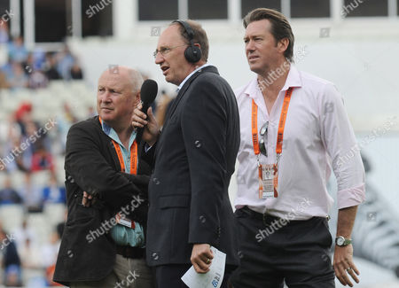 Cricket - 2015 Australia Tour of England - Third Ashes Test at Edgbaston BBC Test Match Special radio broadcaster Jonathan Agnew with Former Somerset and England all-rounder Vic Marks now part of TMS team and Ex Aussie fast-bowling legend Glenn McGrath (right) during the morning session of the first day's play
