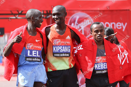 Long Distance Running - The Virgin London Marathon 2012 The winners of the men's race from L-R Martin Lel of Kenya Wilson Kipsang of Kenya and Tsegaye Kebede of Ethiopia