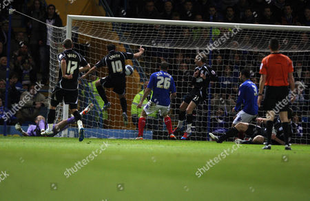 Stock Picture of Football Npower Championship Portsmouth vs Ipswich Town at Fratton Park Ipswich's Michael Chopra scores the opening goal 14/02/2012