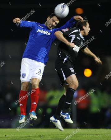 Stock Photo of Football Npower Championship Portsmouth vs Ipswich Town at Fratton Park Portsmouth's Ricardo Rocha battles with Ipswich's Michael Chopra 14/02/2012
