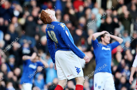 Football Npower Championship Portsmouth vs Middlesbrough at Fratton Park Portsmouth's Dave Kitson dejected after miss 03/03/2012