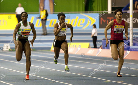 Athletics - UK Athletics Trials and Championships - English Institute of Sport Sheffield Women's 60m hurdles final From left to right: Jeanette Kwakye (first) Abi Oyepitan (fourth) and Jodie Williams (second)