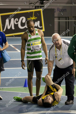 Athletics - UK Athletics Trials and Championships - English Institute of Sport Sheffield Gianni Frankis falls and is take away by the doctors but still managed to get 2nd