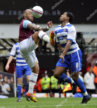 Championship West Ham United v Reading Julien Faubert and Mikele Leigertwood