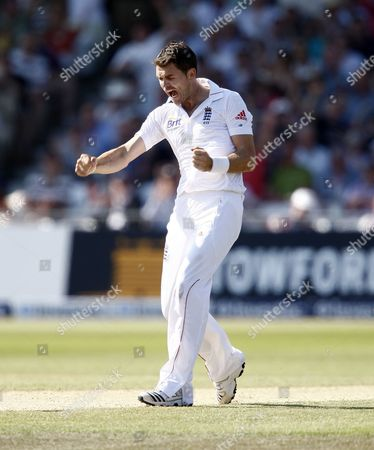 Cricket - 2nd Test Match -Day 3- England vs West Indies- England's James Anderson celebrates the wicket of Adrian Barath at Trent Bridge
