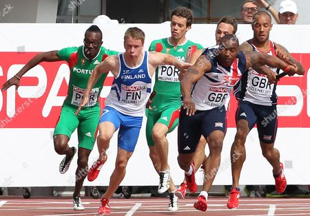 Athletics - European Championships - Helsinki James Ellington of Great Britain passes the batton to Mark Lewis Francis during the 4 x 100m relay heats during day Four of the European Athletics Champions in The Olympic Stadium Helsinki on 30th June 2012  Germany Helsinki