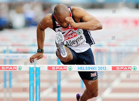 Stock Picture of Athletics - European Championships - Helsinki Richard Alleyne of Great Britain competes in the 110m hurdles heats during day Four of the European Athletics Champions in The Olympic Stadium Helsinki on 30th June 2012  Germany Helsinki