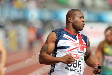 Athletics - European Championships - Helsinki Mark Lewis Francis of Great Britain brings the team home during the 4 x 100m relay heats during day Four of the European Athletics Champions in The Olympic Stadium Helsinki on 30th June 2012  Germany Helsinki