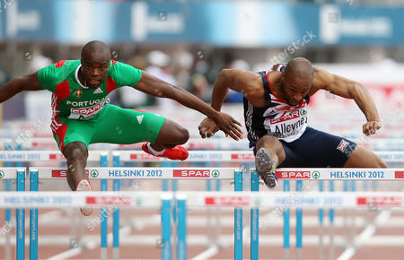 Stock Image of Athletics - European Championships - Helsinki Richard Alleyne of Great Britain competes in the 110m hurdles heats during day Four of the European Athletics Champions in The Olympic Stadium Helsinki on 30th June 2012  Germany Helsinki
