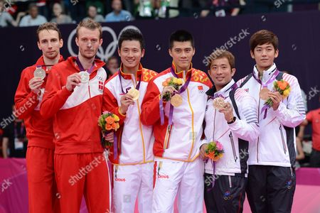 Stock Picture of Cai and Fu China Gold Mens Doubles Final Boe and Mogensen Silver Chung and Lee Bronze Badminton London Wembley 2012 UK London