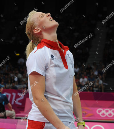 London Olympics 2012 : Badminton 28/07/2012: Mixed Doubles Imogen Bankier (GBR) feels the strain on her way to defeat