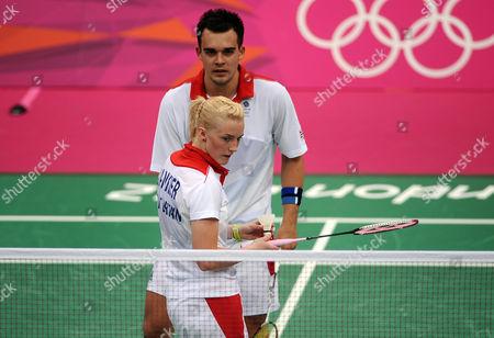 London Olympics 2012 : Badminton 28/07/2012: Mixed Doubles C Adcock and i Bankier (GBR) v Nikolaenko and V Sorokina (Russia) Adcock / Imogen Bankier -GBR
