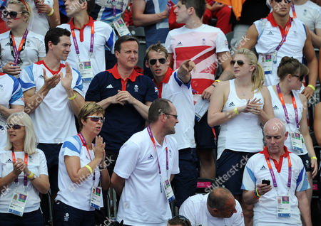 Olympics - London 2012 - 10km Open Water Swim Prime Minister David Cameron watches the action with Keri-anne Payne's fiance David Carry Rebecca Adlington and Sir Steve Redgrave at The Serpentine Hyde Park London