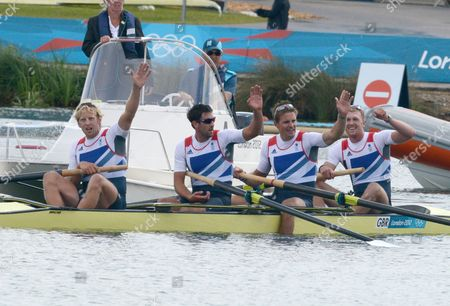 Rowing - London 2012 Olympics - Mens Coxless four Pete Reed Andy Triggs Hodge Tom James and Alex Gregory of Great Britain celebrate their Gold medal
