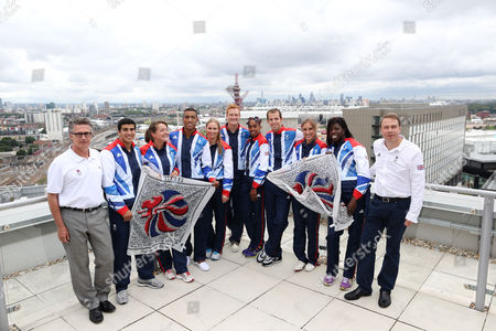 From L-R Team Gb Head Coach Charles van Commenee Adam Gemili Goldie Sayers Andrew Osagie Sophie Hitchon Greg Rutherford Yamile Aldama Rhys Williams Lisa Dobriskey Anyika Onuora and Team GB Chef de Mission Andy Hunt The BOA has announced today 71 track and field athletes selected to Team GB for the London 2012 Olympic Games