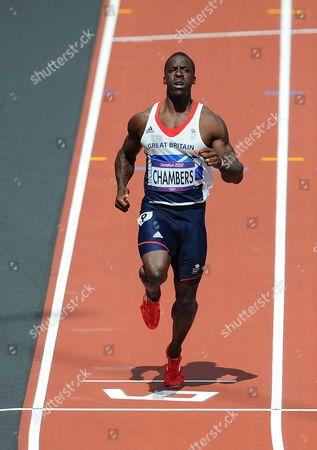 Olympics - London 2012 - Athletics Dwayne Chambers (GB) wins his 100m heat in 10 02s at the Olympic Stadium London