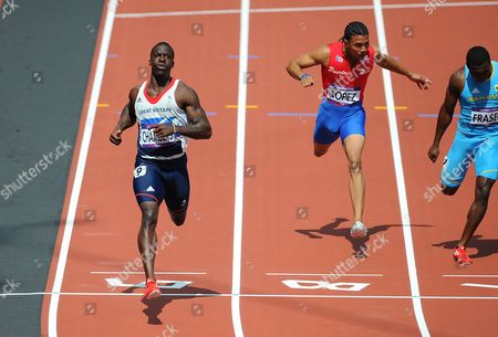 Olympics - London 2012 - Athletics Dwayne Chambers (GB) wins his 100m heat in 10 02s at the Olympic Stadium London