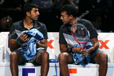Tennis - ATP World Tour finals 2012 - The O2 Arena - Jonathan Marray (GBR) and Frederick Nielsen (DEN) vs Mahesh Bhupathi (IND) and Rohan Bopanna (IND) Mahesh Bhupathi (IND) and Rohan Bopanna (IND) at the O2 Arena London London, UK
